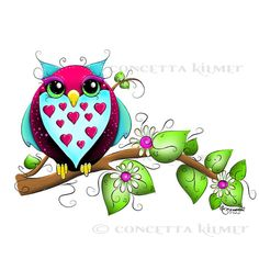 Owl Loves A  Lot Print  8 X 10 Open Edition by concettasdesigns, $10.00