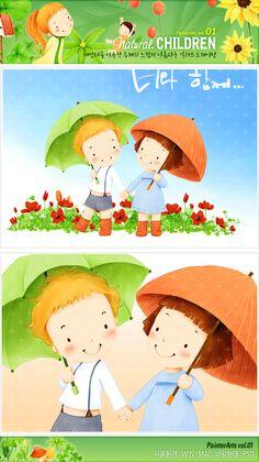 사람, 식물, 여자, 어린이, 소년, 계절, 우정, 꽃, 자연, 남자, 봄, 우산, 일러스트, freegine, 소녀, 친환경, 비, 풀잎, 에프지아이, FGI, pai001 #유토이미지 #프리진 #utoimage #freegine 3875301