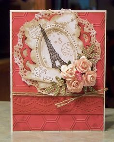 PA Gift For You Birthday Card, Stampin Up Artistic Etchings paris eiffel towerr Pretty Cards, Cute Cards, Diy Cards, Handmade Greetings, Greeting Cards Handmade, Decoupage, Paris Cards, Creation Deco, Beautiful Handmade Cards
