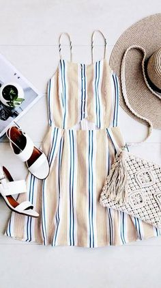 She's Like the Wind White Striped Skater Dress, Winter Outfits, perfect summer outfit. Fashion Mode, Look Fashion, Fashion Trends, Teen Fashion, Womens Fashion, Feminine Fashion, Fashion Spring, Fashion Ideas, Fashion 101