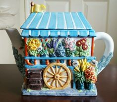 The Village Collectables Flower Stall Handpainted Teapot Ceramic Annie Rowe Tea