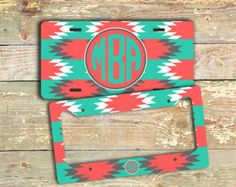 Car tag Monogram license plate or frame - Turquoise and coral Aztec pattern - monogrammed bike license plate car accessory auto (1259)