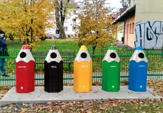 Pencil Recycling Bins in Poland Recycling Station, Recycling Bins, Earth Day Projects, Home Decoracion, Art Village, Trash Bins, Outdoor Art, Elements Of Art, Easy Home Decor