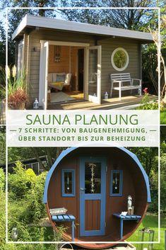 Die Sauna im Garten: Tipps und Tricks rund um die Planung zum Saunahaus. Von der Baugenehmigung, über den richtigen Standort, bis zur Sauna Beheizung. #garten #sauna #planung
