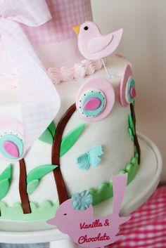 Two tier fondant applique babyshower cake