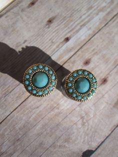 """Pair of Turquoise and Gold Plugs - Girly Gauges - Handmade by WhimsyByKrista on Etsy, $25.00 Sizes Available: 4g, 2g, 0g, 00g, 7/16"""""""