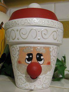 flower pot Santa candy dish