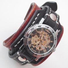 Mens steampunk leather watch Black leather cuff by loversbracelets
