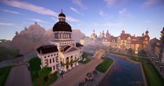 minecraft hall town architecture cool build buildings provincial project planetminecraft things