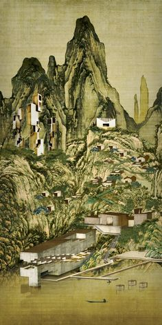 Tianjin Buddhist Retreat Concept | GROUNDWORK  Architects + Associates Ltd. | Archinect Architecture Visualization, Architecture Drawings, Landscape Architecture, Architecture Design, Buddhist Retreat, Tianjin, Design Museum, Nature, Painting