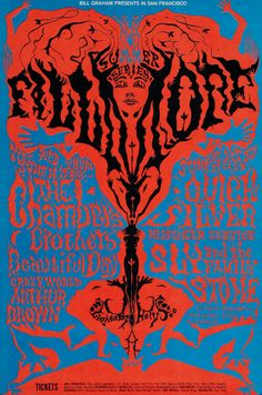 The Chambers Brothers/It's a Beautiful Day/The Crazy World of Arthur Brown/Quicksilver Messenger Service/Sly & the Family Stone & lightshow by Holy See, June 18-23, 1968 - Fillmore Auditorium (San Francisco, CA)Art by Lee Conklin