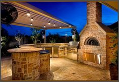 modern patio kitchen ideas pizza oven grill dining bar area