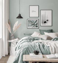 Gallery Wall Inspiration - Shop your Gallery Wall Room Ideas Bedroom, Home Decor Bedroom, Bedroom Wall, Decor Room, Marble Bedroom, White Bedroom Furniture, Bedroom Green, Soft Grey Bedroom, Bedroom Color Schemes