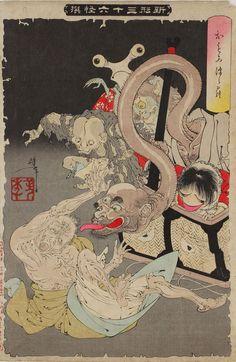 『新形三十六怪撰』より「おもゐつゝら」明治25年(1892)、木版