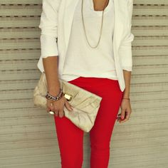 Red skinny jeans with white on white