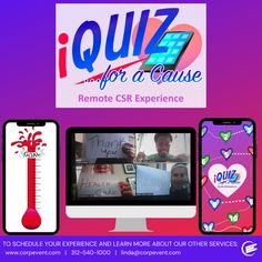 Reconnect your team for a good cause with our unique, charitable game-sharing experience! Participants collaborate virtually or in small groups using our customizable iQuiz app to encourage team bonding and give back to the community. Team Bonding, Good Cause, Giving Back, Small Groups, Remote, Encouragement, Community, App, Learning