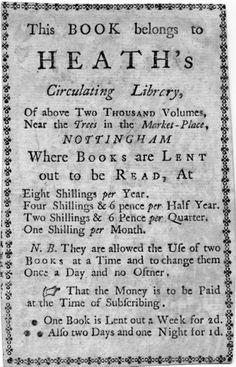 Bookplate of: Heath's Circulating Library Joseph Heath (1700-1757)