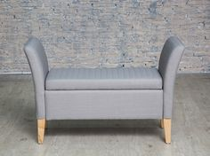 This lovely light grey elegantly crafted upholstered storage bench is a great way of storing items such as linens, towels, clothing and so on. Ideal for the foot of your bed, or for the entrance hall this will sit elegantly in any home. Upholstered Storage Bench, Entrance Hall, Grey Fabric, Linens, Towels, Love Seat, Lounge, Couch, Colours