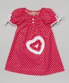 433a8a733593 Look at this Fuchsia & White Polka Dot Heart Dress - Toddler & Girls