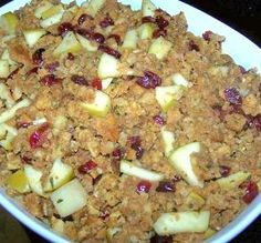 Apple, Cranberry, Pecan Stuffing #ThanksgivingFeast