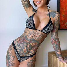 Badass Tattoos, Hot Tattoos, Body Art Tattoos, Girl Tattoos, Tatoos, Tattoed Women, Tattoed Girls, Inked Girls, Hot Tattoo Girls