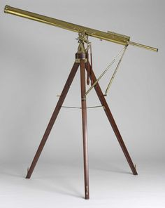 A late 18th century refracting telescope by P & J Dollond.    A late 18th century 3 1/2 inch refracting telescope by P & J Dollond. Signed DOLLOND, LONDON. With an equatorial mount and two telescopic stabilising bars. Mounted on a mahogany tripod stand terminating in brass adjustable levelling screws. Adjustments in the altazimuth can be made using the two turned wooden handles.
