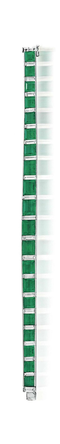 AN ART DECO EMERALD AND DIAMOND LINE BRACELET  Designed as a graduated line of twenty rectangular and square-cut emeralds, spaced by baguette-cut diamonds, circa 1935, 7¼ ins., with French assay mark