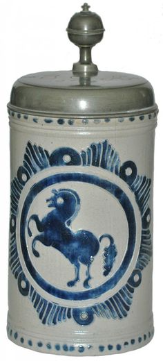 Leaping Horse Westerwald 1771 Stein                          Stoneware 3/4L. Westerwald Factory.  Cobalt  and scratched design.  Leaping horse.  Lid  dated 1771
