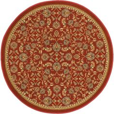 Kings Court Tabriz Red 4 ft. 3 in. x 4 ft. 3 in. Round Traditional Area Rug