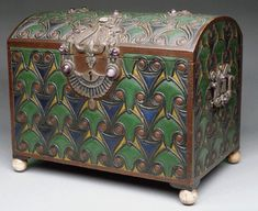 Egyptian Box, ca. 1915; Egyptian style wooden jewel casket with silver gilt bronze, ivory feet, enamel, semi-precious stone and amethyst set in a rich design. collection Metropolitan Museum of Art, New York.  10.25x12.5x8.5 inches