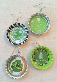 St Patrick's Day Image on Silver Bottle Cap by SweetieBeads