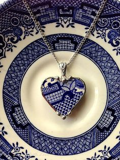 Broken china heart pendant necklace antique oriental blue willow broken china jewelry