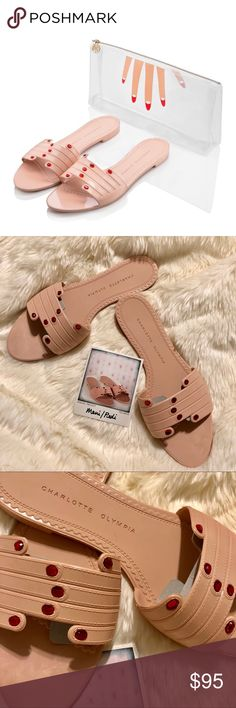 """NEW - Charlotte Olympia ManiPedi Slides - M New in carrying bag. Never used . In perfect condition. The carrying bag has a smudge at the front, look at pics for detail. Shoes are perfect. Tonal stitching detail, rhinestones on """"nails"""" . Sizing on this model is M, might fit little big on 7.5 I think ideally would be for size 8-9. Check measures. The lady of luxury must always be well equipped. Manipedi is a nail-salon essential, giving you the freedom to rush to your next appointment without…"""