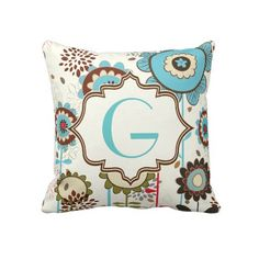 Cute retro 'G' turquoise blue floral pattern monogram custom throw pillow.