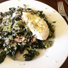 Kale, spec, peas and egg - Sunday brunch recipe online now
