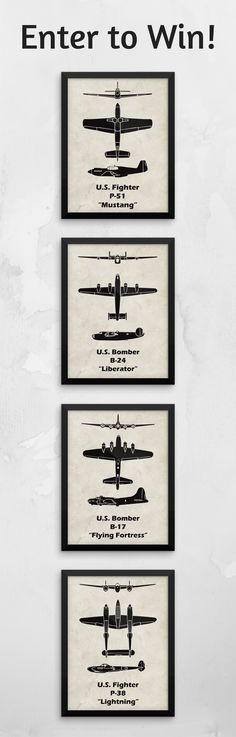 Giveaway ends 11/20/2016 - Enter to win a pack of 3 WWII spotter prints to decorate your home. https://www.littlepilotslounge.com/blogs/blog/win-3-wwii-airplane-spotter-prints