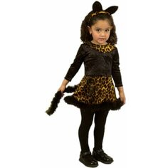 Dress your little girl up in our adorable toddler cheetah dress outfit for a Halloween to be remembered for years to come. Add a pair of black tights and a make up crayon to draw a cute little cat nos