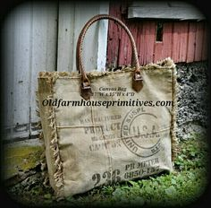 """Mona B"" Recycled Canvas Bag (Vintage Stamp Fringed Tote)"