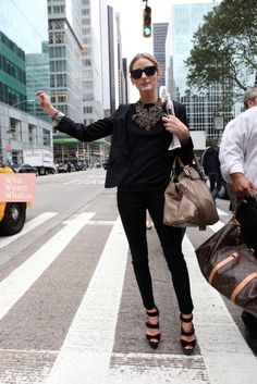 love the shoes and skinny pants. - Olivia Palermo