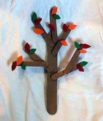 Craft Stick Tree:  Make a tree from craft sticks that have been painted brown. Cut little leaves and glue them on.  Use pastel pink, purple and yellow for a spring tree.