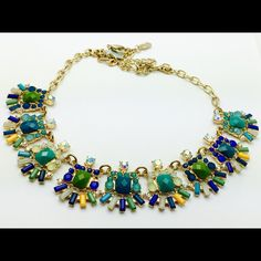 Jcrew style statement necklace Beautiful statement multi color adjustable necklace. Jewelry Necklaces
