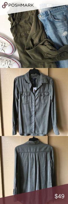 🔸HP🔸BUFFALO David Bitton button down shirt BUFFALO David Bitton army green button down shirt. Size small. NWT. Super soft 100% lyocell. Button closure chest pockets. So versatile and super cute with a front tuck and denim. Buffalo David Bitton Tops Button Down Shirts