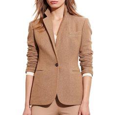 Lauren Ralph Lauren Wool Blend Long Sleeve Blazer ($325) ❤ liked on Polyvore featuring outerwear, jackets, blazers, brown, single button blazer, lauren ralph lauren blazer, tailored blazer, one button blazer and wool-blend jacket
