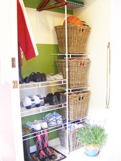 front closet with wire shelving