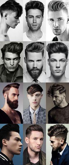distintos hombres mostrando su corte de cabello, algunos tienen barba larga y definida