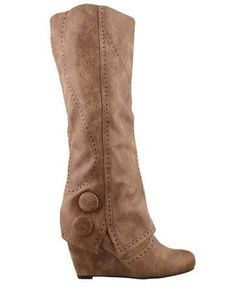 Lime Lush Boutique - Taupe Overlay Wedge Button Boot, $69.99 (http://www.limelush.com/taupe-overlay-wedge-button-boot/)