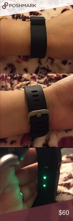Black Fitbit HR Gently used Black Fitbit HR. Comes with charger! Only getting rid of it because I went to a Garmin for my running habit. SIZE SMALL Fitbit Accessories Watches