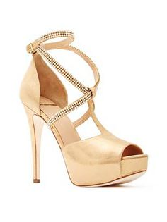 GUESS by Marciano 'Kate' Gold Metallic Laminated Leather Crisscross Ankle Strap with Rhinestone embellishment Peep-toe covered Platform Heel
