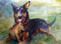 """Annalisa's pets"" 11""x14"" watercolor 2014"