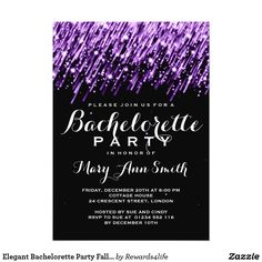 Elegant Bachelorette Party Falling Stars Purple